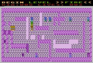 DIe Blöcke mit dem schönen Regenbogenfarb- Effekt sind ATASCII Code 128 Zeichen. Der Effekt entsteht mittels DLI.