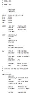 Bubble Sort Routine. Sortiert eine Feld von max 255 8- Bit Integern, aufsteigend.