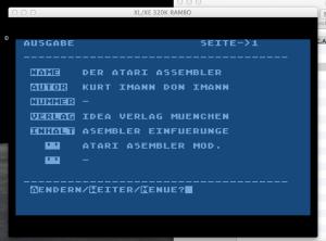 Eine Datenbank für Bücher inklusive einem komplett erhaltenem Datensatz. Die Auswahl der enthaltenen Titel zeigt meine frühen Interessen an 6502 Assembler